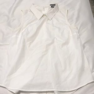 Theory white tank blouse with collar